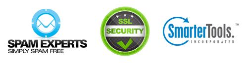 E-mail Poderoso com Spam Experts, Certificado de segurança SSL e painel de controle SmarterTools.
